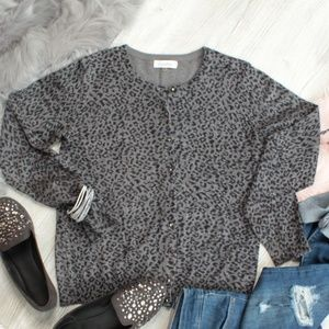 Sweaters - Calvin Klein Gray/Black Leopard Print Cardigan Med